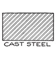 mechanical drawing of cross hatching cast steel vector image vector image