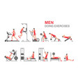 men doing exercises vector image vector image