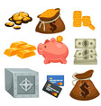 money in cash or credit card savings and deposit vector image