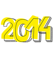 New Year 2014 hand drawn sign or numer symbol vector image vector image