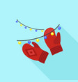 Red winter gloves icon flat style