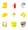 Road construction repair icons set cartoon style vector image vector image