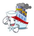 sailor ship in the transportation ocean mascot vector image
