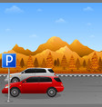 scenery with parking zone sign and two car vector image