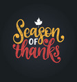season thankshand lettering vector image vector image
