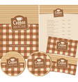 set design elements for coffee house with cup vector image vector image