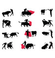 silhouettes matadors and bulls vector image
