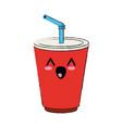 soda cup beverage cute kawaii cartoon vector image vector image