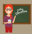 teacher woman with chalkboard education online vector image