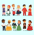 traditional kids couples character world dress vector image vector image