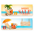 two summer sale banners with beach chair and vector image vector image