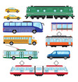 urban public transport set collection bus vector image