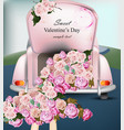 vintage retro car with rose flowers valentines vector image