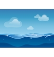 Water ocean seamless landscape with sky and clouds vector image vector image