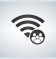 wifi connection signal icon with crowd or users vector image vector image
