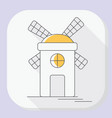 windmill or mill line icon with long shadow vector image