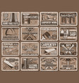 work tool and equipment retro posters vector image vector image