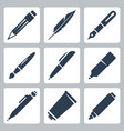 writing and painting tools icons set pencil vector image vector image