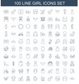 100 girl icons vector image vector image
