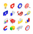 3d social marketing icons isometric web seo likes vector image vector image