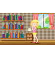 A girl inside a house full of books vector image vector image
