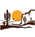 american desert with cactuses and yellow sun vector image
