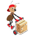 ant loader rolls cart with cardboard boxes vector image vector image