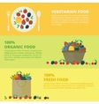 Banners with fresh berries and fruits Concept vector image
