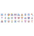 bashower clothes toys accessories icons vector image vector image
