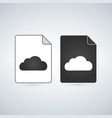 black and white cloud file icon isolated on white vector image vector image