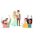 bride with bouquet and happy groom in cute suit vector image vector image
