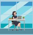 business woman sitting on a chair at a table on vector image vector image