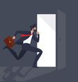 businessman running light from the open door vector image vector image