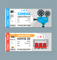 cartoon cinema tickets big set vector image vector image