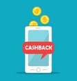 cashback gold coins and mobile phone vector image vector image