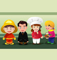 children dressing up as professionals vector image