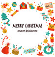 christmas background with holiday elements icons vector image vector image