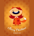christmas card with girl in fox costume vector image vector image