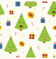 cute christmas trees with faces on beige vector image vector image