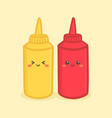 cute mustard tomato ketchup bottle cartoon vector image