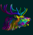deer abstract neon multi-colored portrait vector image vector image