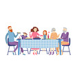 family sitting at dining table people eat festive vector image