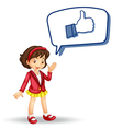 girl with callout and thumb vector image vector image