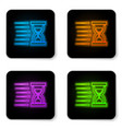glowing neon old hourglass with flowing sand icon vector image