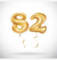 golden number 82 eighty two metallic balloon vector image
