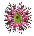 green birdhouse framed sakura cherry blossoms vector image vector image