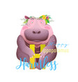h is for hippopotamus animal alphabet for children vector image vector image