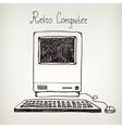 hand drawn doodle retro computer vector image vector image