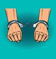 hands in handcuffs pop art style vector image vector image