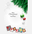 merry christmas bright background with gift box vector image